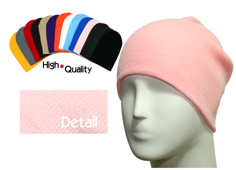 basic long pink beanie