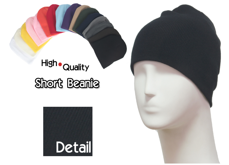 basic short black beanie