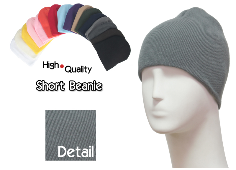 basic short grey beanie