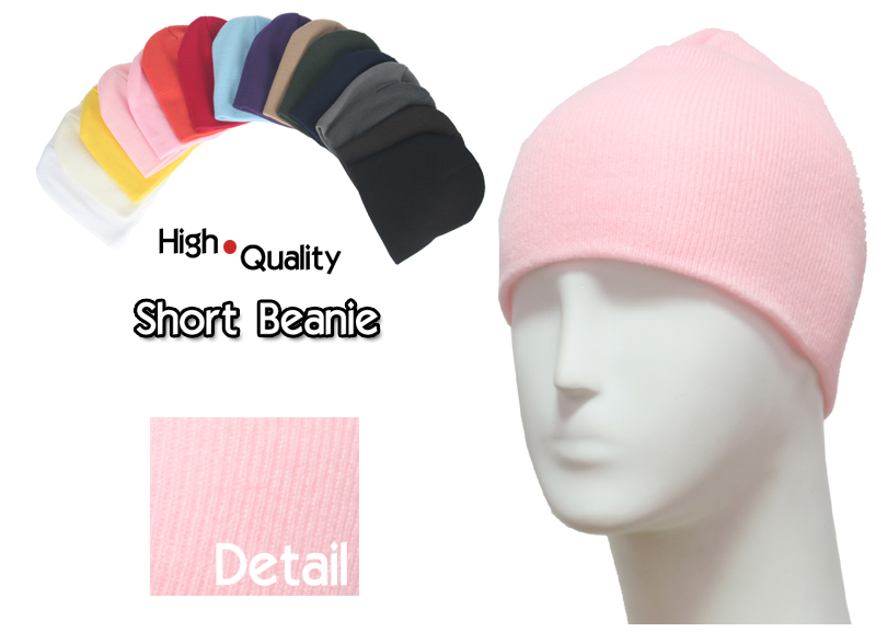 basic short light pink beanie