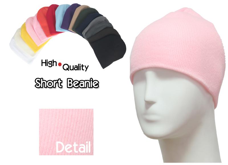 basic short light pink beanie