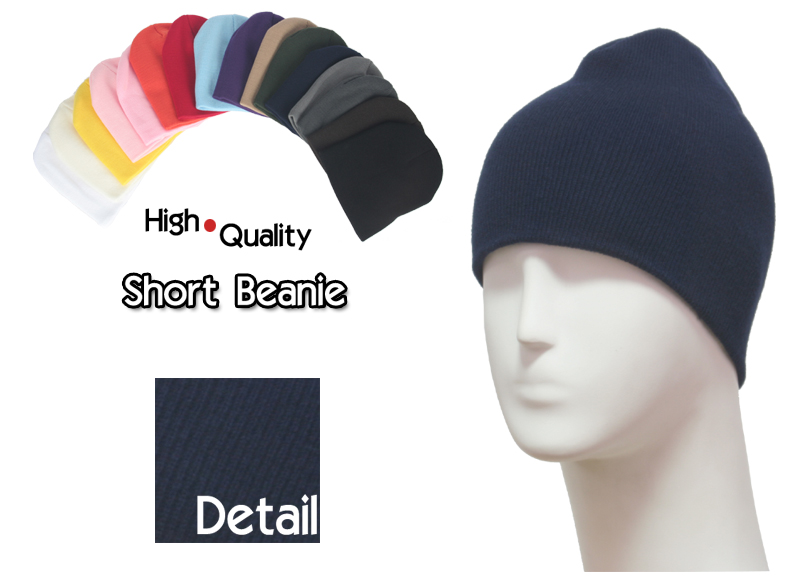 basic short navy beanie
