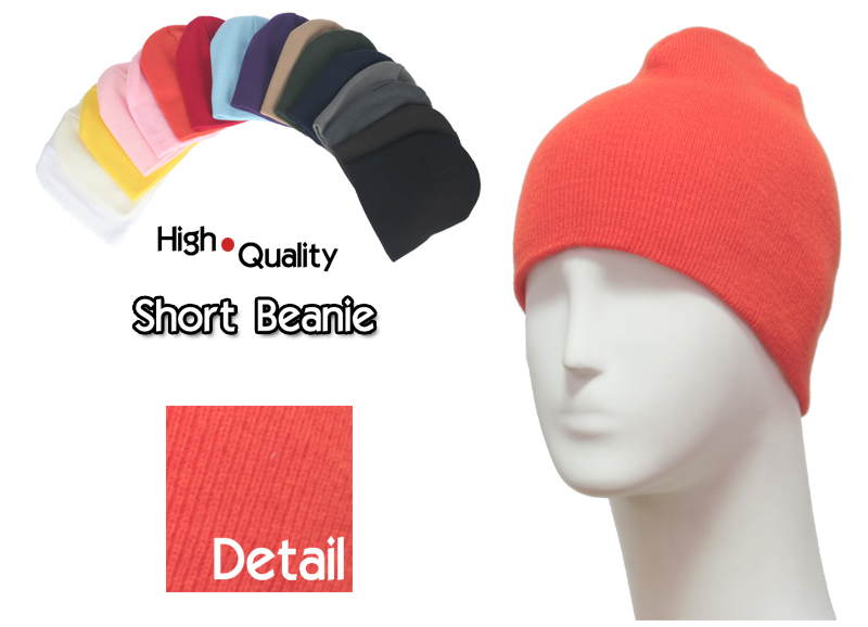 basic short orange beanie