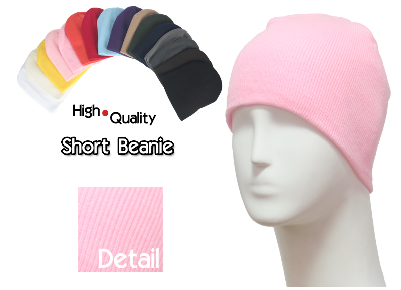basic short pink beanies