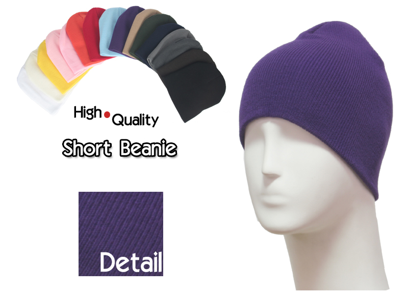 basic short purple beanie