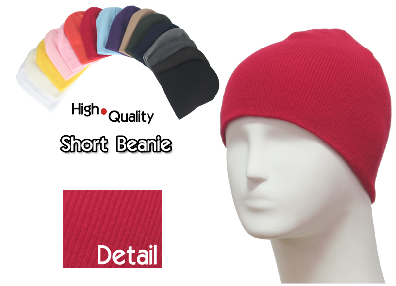 basic short red beanie
