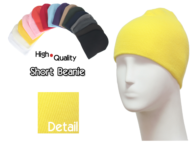 basic short yellow beanies